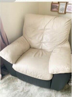 Cream And Brown Leather Recliner Chair DFS