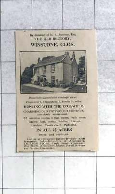 1935 H E Jennings Esq Selling The Old Rectory, Winstone, Gloucs With 2 Acres