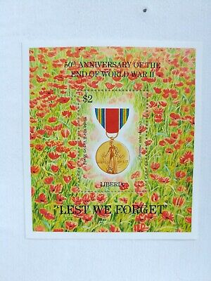 50th Anniversary end of World War II Liberia $2 Lest We Forget Postage Stamp