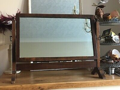 Antique Walnut Veneer Tilting Table Top Vanity Mirror Brass Handles Foxed Lovely