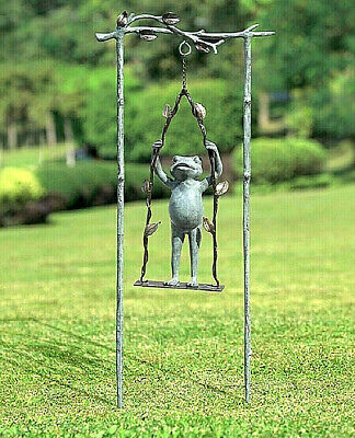 Frog Swinging Daredevil Garden Sculpture Statue Aluminum Metal Whimsical