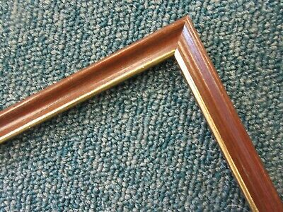 4 x 1m lengths (4m) - Small 10mm Wooden Walnut & Gold Picture Frame Moulding