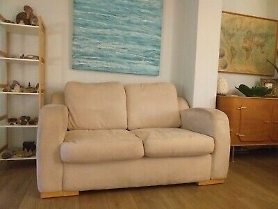 2 seater sofa from Heals, cream suede.