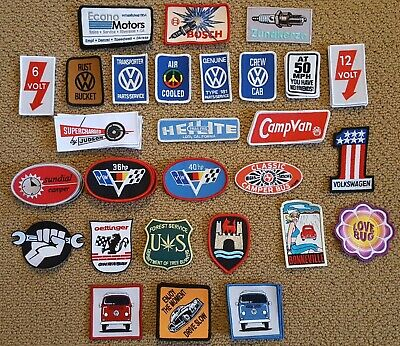 VW Embroidered Patches (SMALL) Split Oval Bug Bus Ghia (Sold Individually)