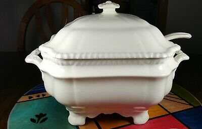 Copeland Spode Gadroon Genuine Large Soup Tureen with Lid Ladle Vintage White
