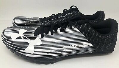 41c664c713b989 Under Armour Racing Kick Sprint Track Spike Cleats Black White Men's Size 12