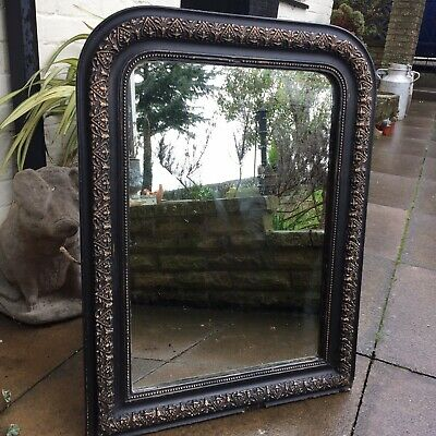 Antique French black mirror with gold/copper detail c.1880