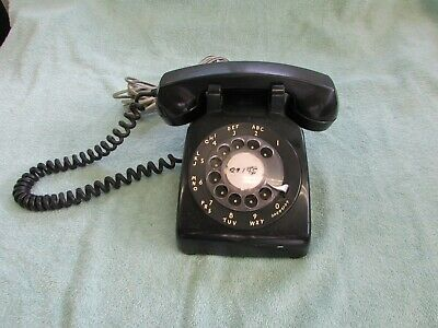 """Vintage """"Western Electric"""" Black Desk Telephone With Rotary Dial"""