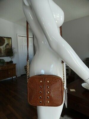 ff007896360937 MICHAEL KORS ASTOR Luggage Tan Leather Studded Weekender XL Satchel ...