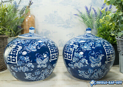 Antique Chinese Pair Of Blue White Porcelain Double Happiness Jars