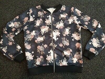 Ladies Floral Bomber Jacket Size States M/L But More Like 10-12