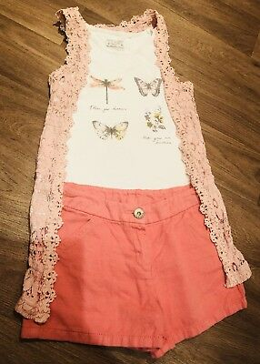 Girls  - Next - Summer -  3 Piece Set Shorts Vest Top / Cardigan Age 8yrs Immac