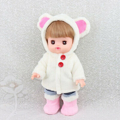 White Plush Hooded Coat & Shorts Clothes for 25cm Mellchan Baby Reborn Doll