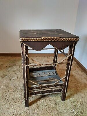 Antique Tramp Art Wooden Table Stand Early 1900s Primitive Folk Art Furniture