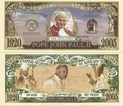 Pope John Paul II Commemorative Bills x 2 Limited Edition Holy Father 1920-2005