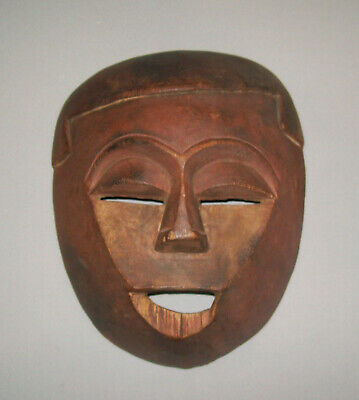 Old Antique Vtg Hand Carved Wooden Face Mask Great Detail Red Wash Very Nice