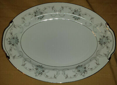 "Fleurette Empress #601 Japan - 16"" Oval Serving Platter (blue-gray roses leaves)"