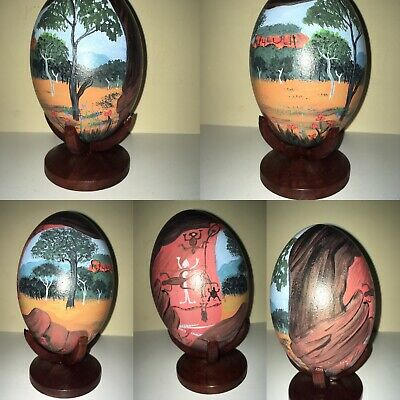 Hand Painted Emu Eggs with stand. Beautiful original design. Price per egg.