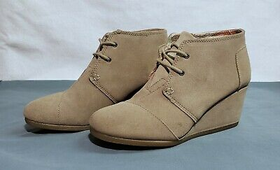 a19ac91590d TOMS TAUPE SUEDE Women s Desert Wedges Shoes. Style   10006257 ...