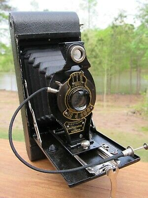 Old 1918 Kodak No. 2A Folding Autographic Brownie Camera W/ Remote Shutter
