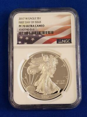 "2017-W US 1oz Proof Silver Eagle $1 NGC PF70 Ultra Cameo ""FIRST DAY OF ISSUE""L36"