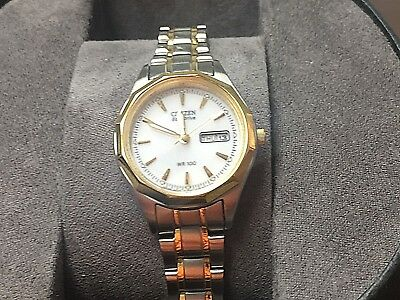 Citizen Women's Eco-Drive Two Tone Watch EW3144-51A Sold AS IS