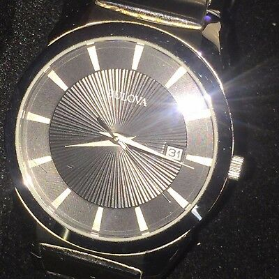 Men's Bulova 96B149 Stainless Steel Black Date Quartz Dial 37mm Wrist Watch