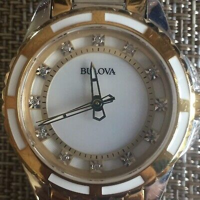 Bulova Women's 98P134 Quartz Diamond Accented Two-Tone Bracelet 28mm Watch