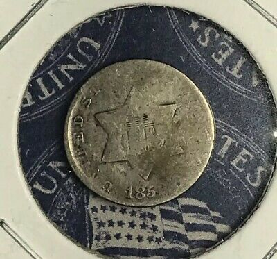 1852 Three Cent Silver. Collector Coin For Collection Or Set. Free Shipping