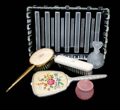 Vintage mismatched vanity set with tray, hair brush, mirror, clothes brush, Perf