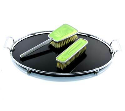 Vintage art deco solid black glass oval tray with brushes vanity set