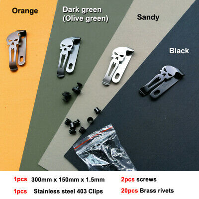 """1.5mm (0.06"""") x150mm x300mm KYDEX plank with clip and screws & brass nail"""