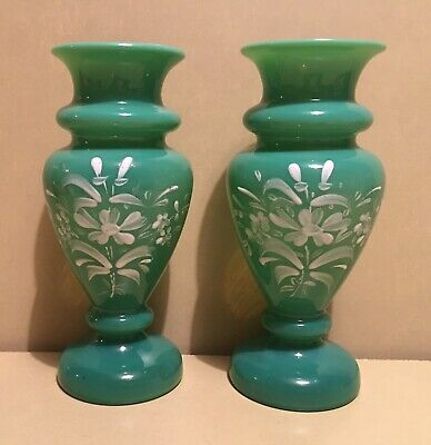 Pair Of Vintage / Antique Blue / Green Opaline Glass Vases, Hand Blown & Painted