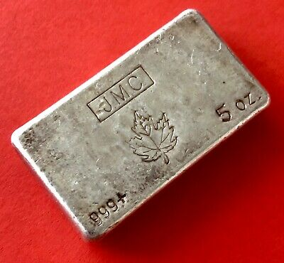 Johnson Matthey Company JMC 5oz Silver Poured Bar .999 Fine - With Maple Leaf