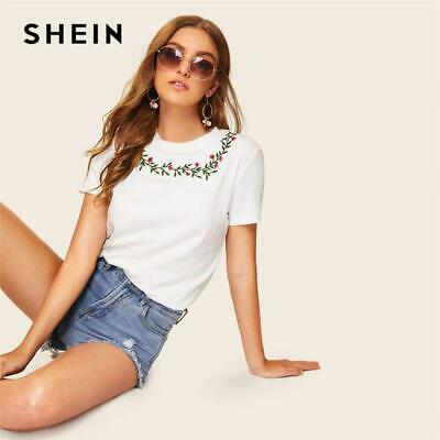 2c8693ed2b SHEIN Casual White Embroidered Floral Detail Tee T Shirt Women Summer Round  Neck