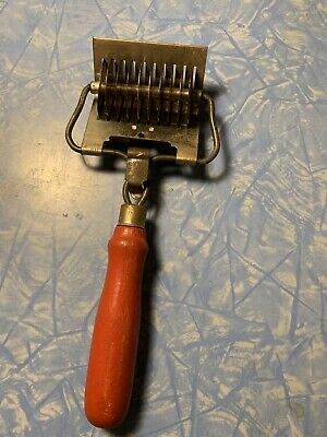Antique Vintage 1940's-1950's Pasta, Pastry Cutter Slicer with Red Wooden Handle