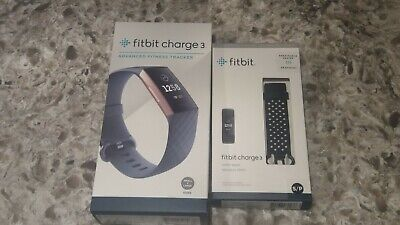 Fitbit Charge 3 Fitness Activity Tracker Rose Gold/Blue Grey Large & Small Bands