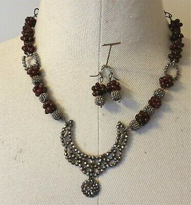 Victorian Antique French Cut Steel Beads & Pendant Garnet Necklace Earring Set