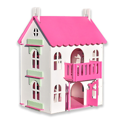 Pink & White Big Wooden Doll House, Wood House For Girls, Dollhouse Kit, Doll Ho