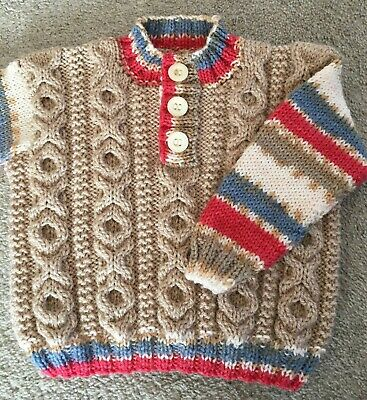 Hand Knitted Boys Aran Pattern Jumper Pull Over 6-9 Months with Red Blue Cream