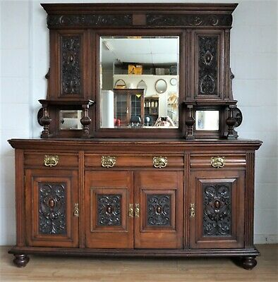 Large Victorian  / Art Nouveau Style Solid Mahogany Mirror Back Dresser