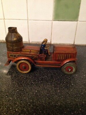 Vintage Tinplate Toys 1920s 30s Arnold Clockwork Wind Up Sparking Fire Truck