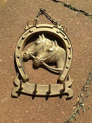 Vintage Antique Old Solid Brass Horses Heads Lucky Horseshoe Key Rack Nice Gift