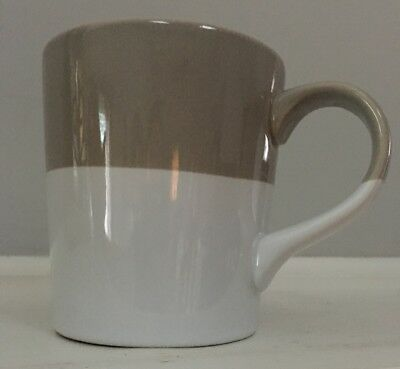CRATE & BARREL Dip Mug Gray Beige Greige White 16 oz.