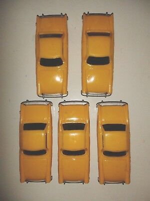 5 x NEW HORNBY No 7 (YELLOW) SUNBEAM ALPINE CAR - 00/H0 Scale Made in England
