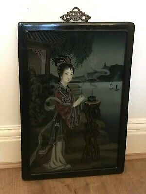 Antique chinese reverse painted glass panel