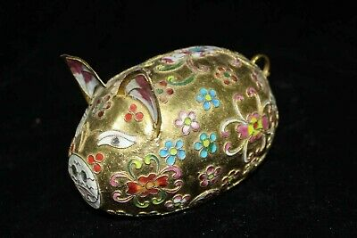 China Palace Cloisonne Brass Carve Lovely pig Noble Decorated big Statue