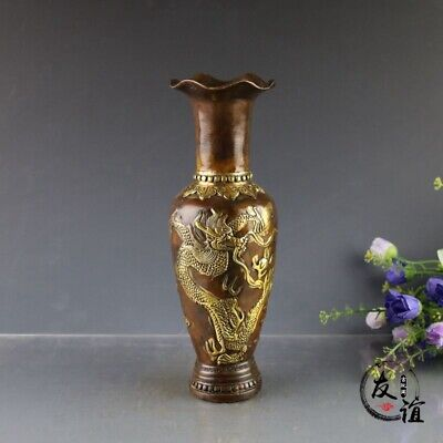 Collectible China Decorated Bronze Carve dragon phoenix Noble Gilded Vase Bottle