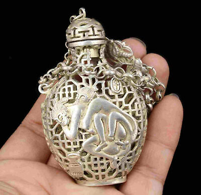 China Hand Carved Figures Tibetan Silver Hollow Out Perfume Satchel Snuff Bottle