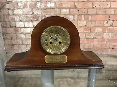 Edwardian Mahogany Napoleon Mantle Clock Presented By Clapham F C In 1907
